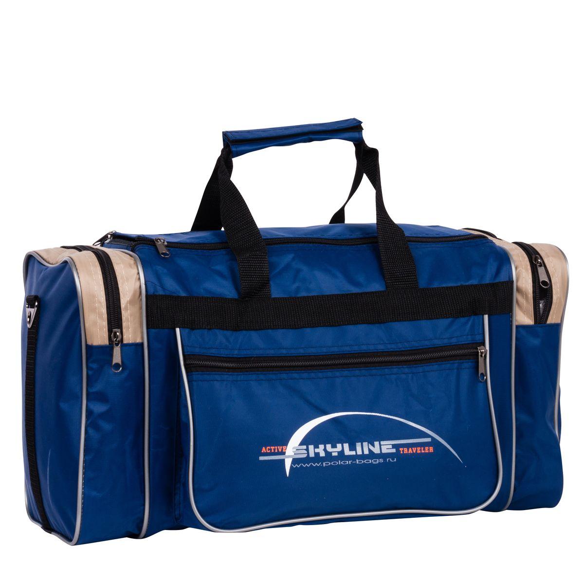 Сумка спортивная Polar, цвет: синий, бежевый, 23 л. 60096009_синий, бежевыйМатериал – полиэстер с водоотталкивающей пропиткой. Вместительная спортивная сумка среднего размера. Одно отделение. Два боковых кармана и два кармана на передней части. В комплект входит съемный плечевой ремень. Эта сумка идеально подойдет для спорта и отдыха. Спортивная сумка для ваших вещей.