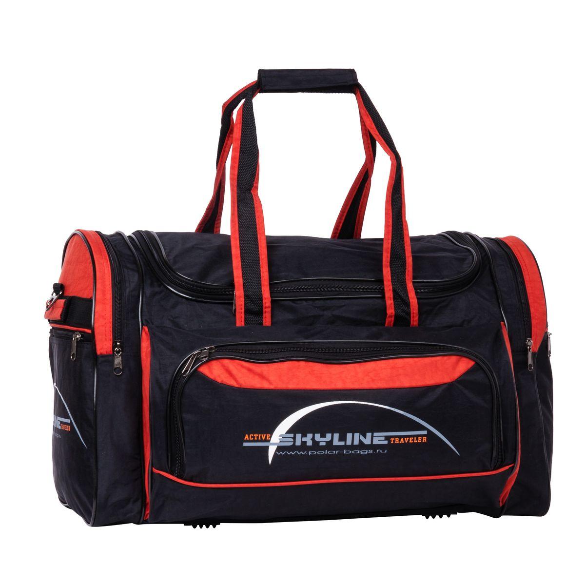 Сумка спортивная Polar, цвет: черный, красный, 66,5 л. 6069.16069.1_черный, красныйМатериал – полиэстер с водоотталкивающей пропиткой. Вместительная спортивная сумка среднего размера. Внутри - один отдел, два боковых кармана и карман на передней части. В комплект входит съемный плечевой ремень. Эта сумка идеально подойдет для спорта и отдыха. Спортивная сумка для ваших вещей. Сумка раздвижная ,на 5 см по бокам сумки.