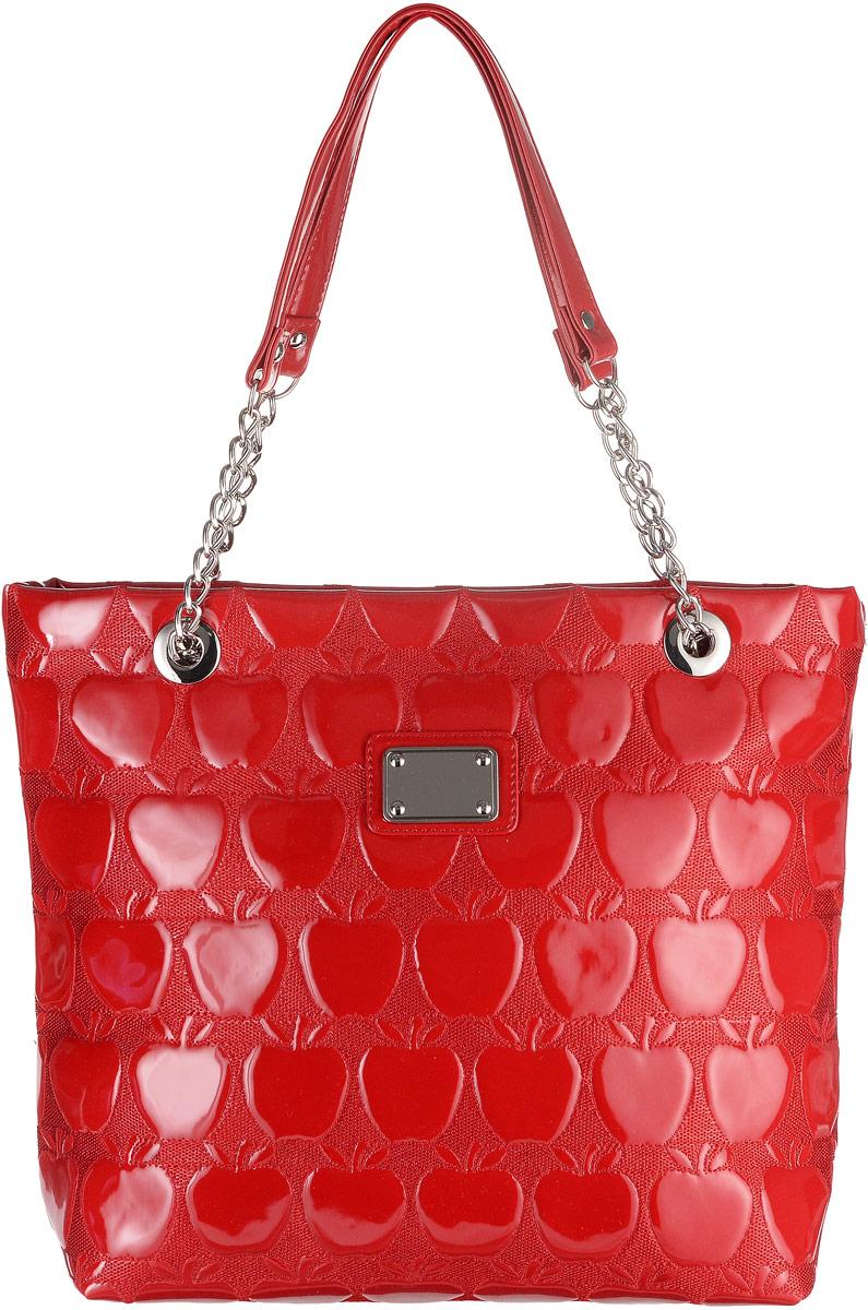 Сумка женская Аntan Яблоки, цвет: красный. 822822Стильная женская сумка Аntan Яблоки выполнена из искусственной лакированной кожи и оформлена конгревным тиснением в виде яблока. Изделие имеет одно отделение, закрывающееся на застежку-молнию. Внутри сумки находятся прорезной карман на застежке-молнии и два накладных открытых кармана. Сумка оснащена двумя длинными ручками.