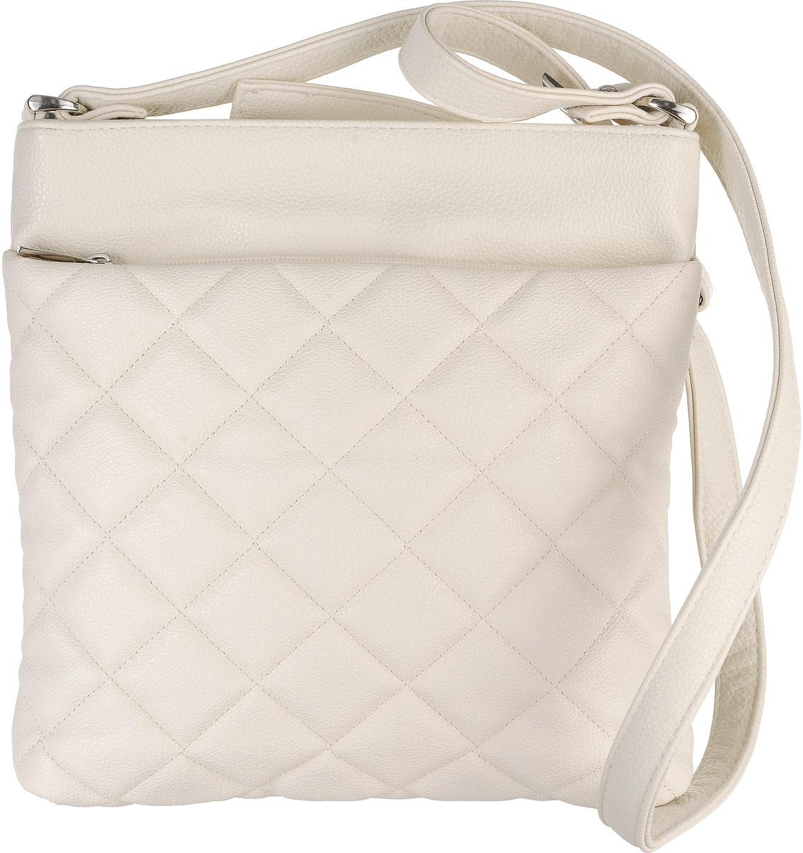 Сумка женская Аntan, цвет: светло-бежевый. 902902Стильная женская сумка Аntan выполнена из искусственной кожи. Изделие имеет одно отделение, которое застегивается на застежку-молнию. Внутри сумки находятся два накладных открытых кармана и прорезной карман на застежке-молнии. Снаружи, на передней стенке расположен накладной карман на застежке-молнии, на задней стенке - прорезной карман на застежке-молнии. Сумка оснащена регулируемым наплечным ремнем.