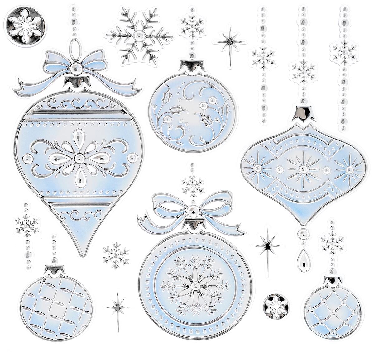 Украшение новогоднее оконное Winter Wings Елочные украшения, 17 штN09341Новогоднее оконное украшение Winter Wings Елочные украшения поможет украсить дом к предстоящим праздникам. Наклейки изготовлены из ПВХ. С помощью этих украшений вы сможете оживить интерьер по своему вкусу, наклеить их на окно, на зеркало или на дверь. Новогодние украшения всегда несут в себе волшебство и красоту праздника. Создайте в своем доме атмосферу тепла, веселья и радости, украшая его всей семьей. Размер листа: 18 х 24 см. Количество наклеек на листе: 17 шт. Размер самой большой наклейки: 13 х 6 см. Размер самой маленькой наклейки: 2,3 х 1,7 см.