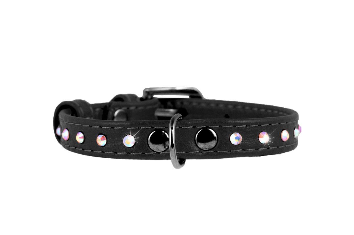 Ошейник CoLLaR Glamour, цвет: черный, ширина 9 мм, длина 19-25 см32521Ошейник CoLLaR GLAMOUR с клей.стразами (ширина 9мм, длина 19-25см) чёрный