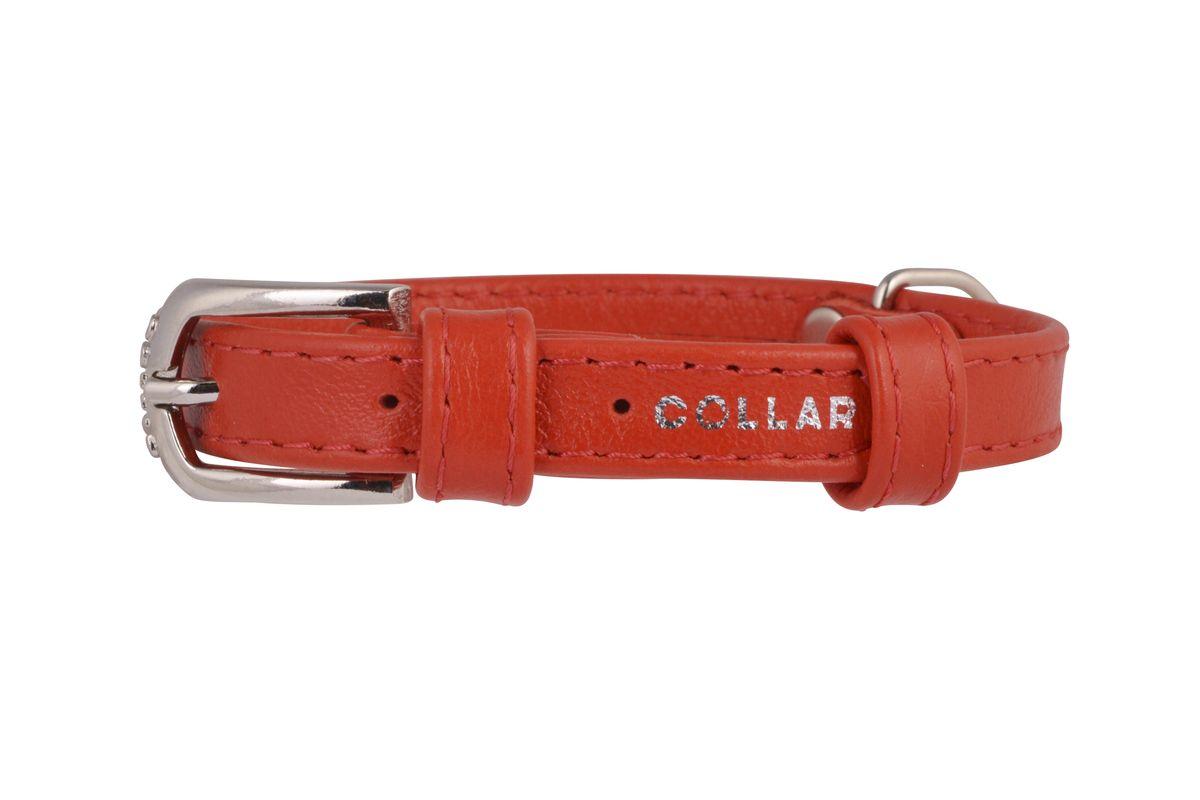 Ошейник CoLLaR Glamour, цвет: красный, ширина 12 мм, длина 21-29 см. 3256332563Ошейник CoLLaR GLAMOUR без украшений (ширина 12мм, длина 21-29см) красный