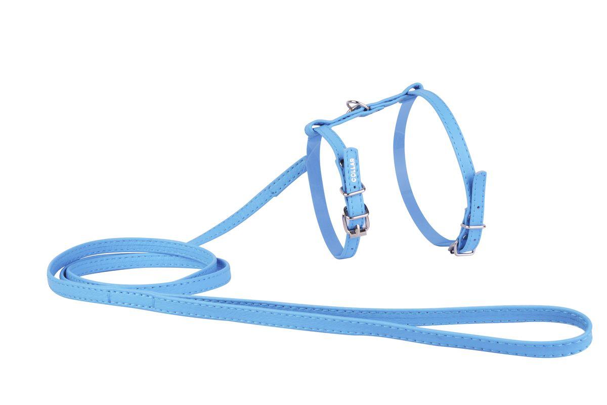 Шлейка CoLLaR Glamour, с поводком, цвет: синий, ширина 12 мм, обхват груди: 35-43 см34002Шлея CoLLaR GLAMOUR с поводком (ширина 12мм, А:25-35см, В:35-43 см) синяя