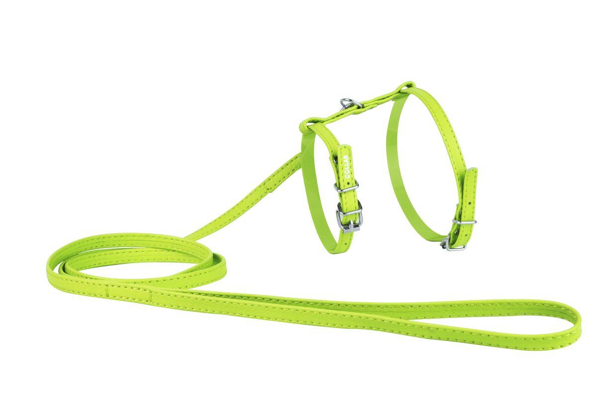 Шлейка CoLLaR Glamour, с поводком, цвет: зеленый, ширина 12 мм, обхват груди: 35-43 см34005Шлея CoLLaR GLAMOUR с поводком (ширина 12мм, А:25-35см, В:35-43 см) зелёная
