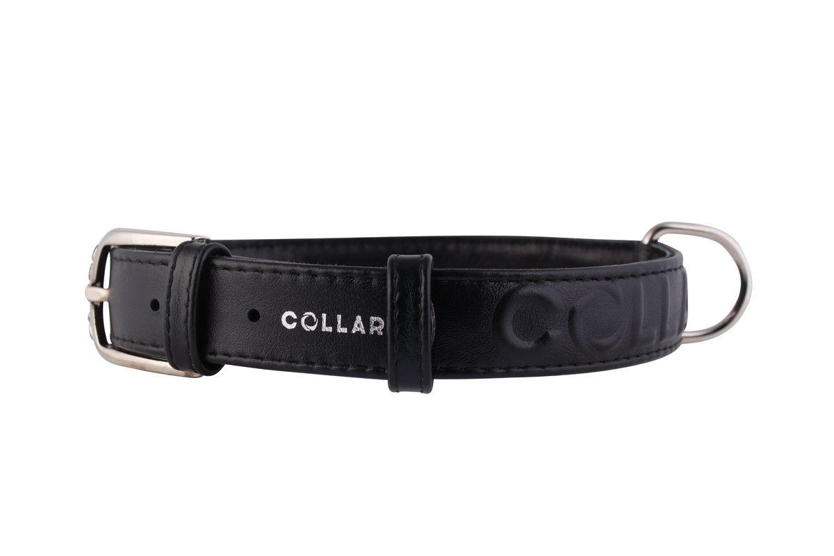 Ошейник CoLLaR Glamour, цвет: черный, ширина 25 мм, длина 38-49 см. 3457134571Ошейник CoLLaR GLAMOUR с объемной надписью (ширина 25мм, длина 38-49см) чёрный