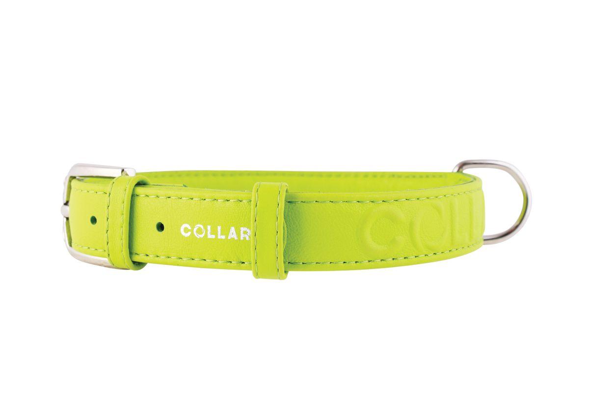 Ошейник CoLLaR Glamour, цвет: зеленый, ширина 25 мм, длина 38-49 см. 3457534575Ошейник CoLLaR GLAMOUR с объемной надписью (ширина 25мм, длина 38-49см)зелёный