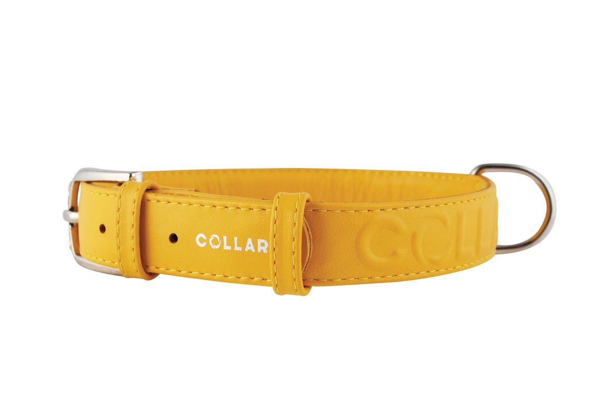 Ошейник CoLLaR Glamour, цвет: желтый, ширина 25 мм, длина 38-49 см. 3457834578Ошейник CoLLaR GLAMOUR с объемной надписью (ширина 25мм, длина 38-49см) желтый