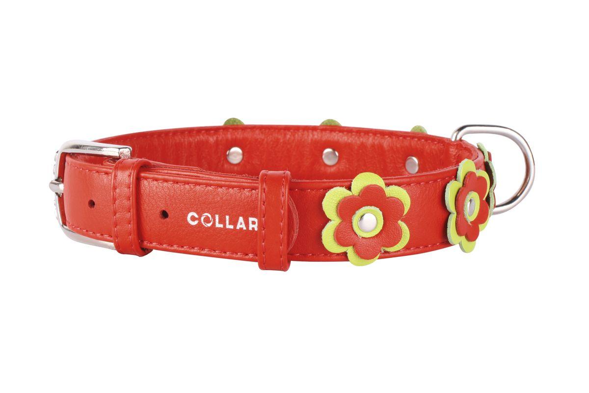 Ошейник CoLLaR Glamour Аппликация, цвет: красный, ширина 25 мм, длина 38-49 см35033Ошейник CoLLaR GLAMOUR с украшением аппликация (ширина 25мм, длина 38-49см) красный