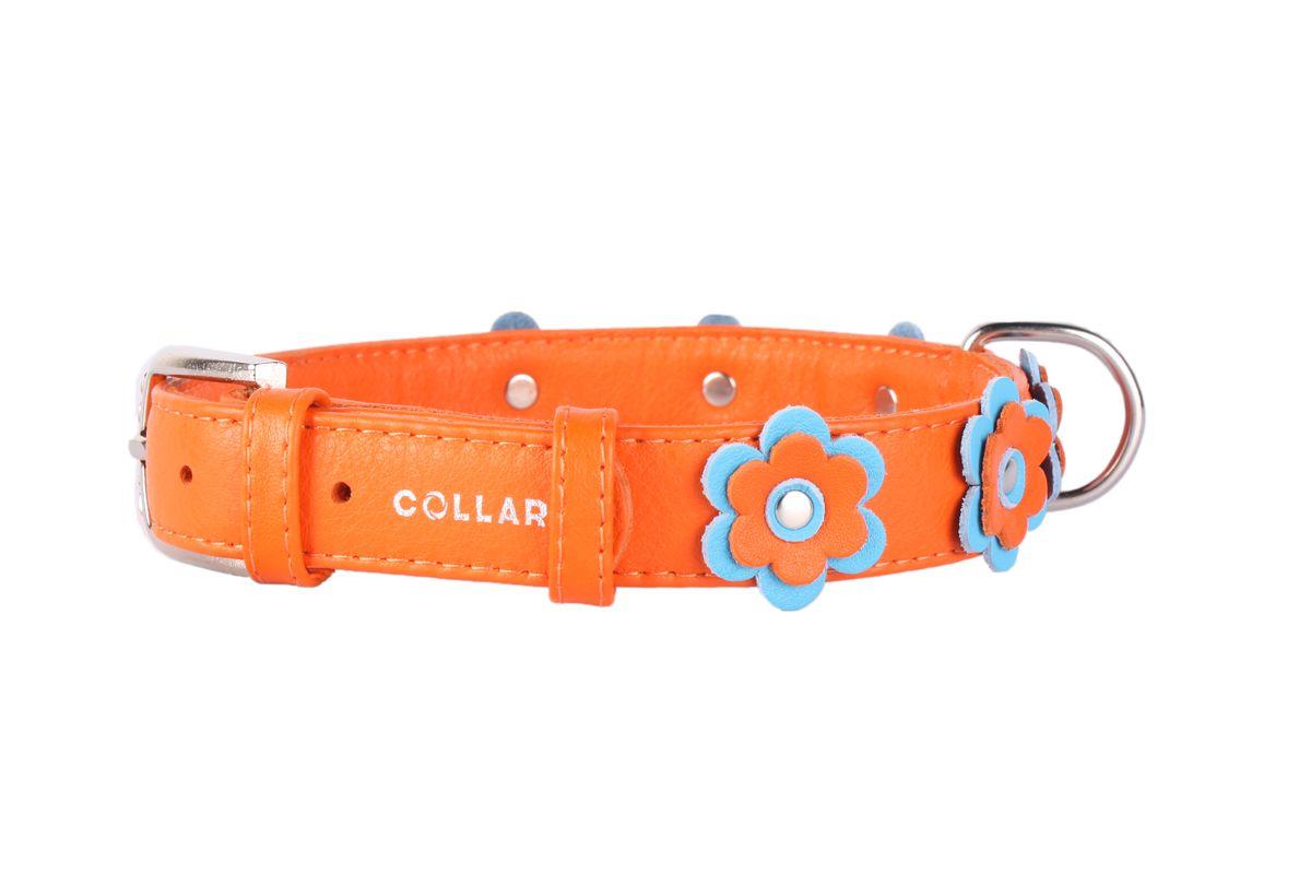 Ошейник CoLLaR Glamour Аппликация, цвет: оранжевый, ширина 25 мм, длина 38-49 см35034Ошейник CoLLaR GLAMOUR с украшением аппликация (ширина 25мм, длина 38-49см) оранжевый