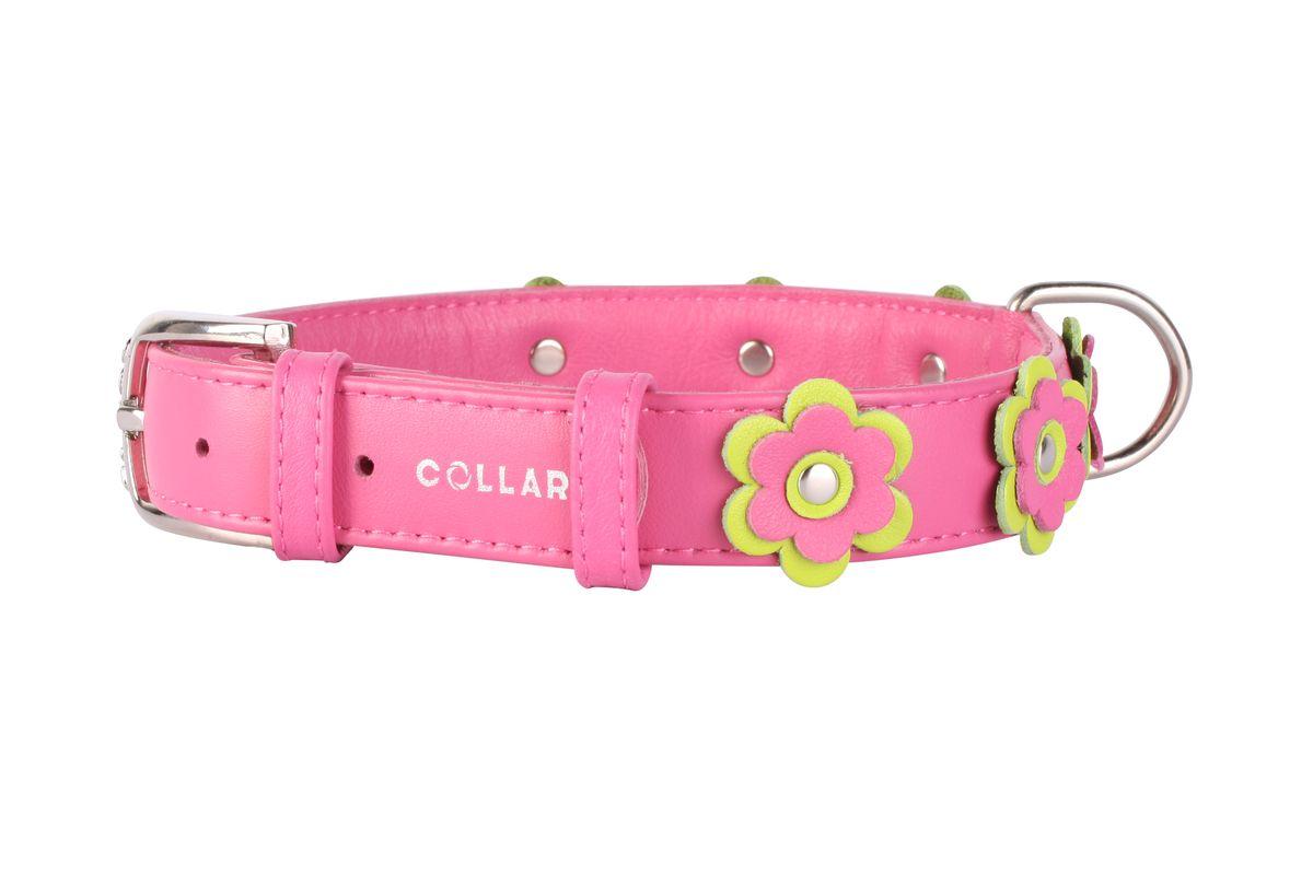 Ошейник CoLLaR Glamour Аппликация, цвет: розовый, ширина 25 мм, длина 38-49 см35037Ошейник CoLLaR GLAMOUR с украшением аппликация (ширина 25мм, длина 38-49см) розовый
