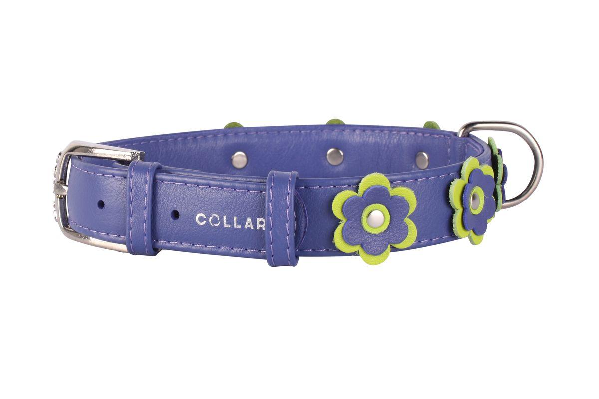 Ошейник CoLLaR Glamour Аппликация, цвет: фиолетовый, ширина 25 мм, длина 38-49 см35039Ошейник CoLLaR GLAMOUR с украшением аппликация (ширина 25мм, длина 38-49см) фиолетовый