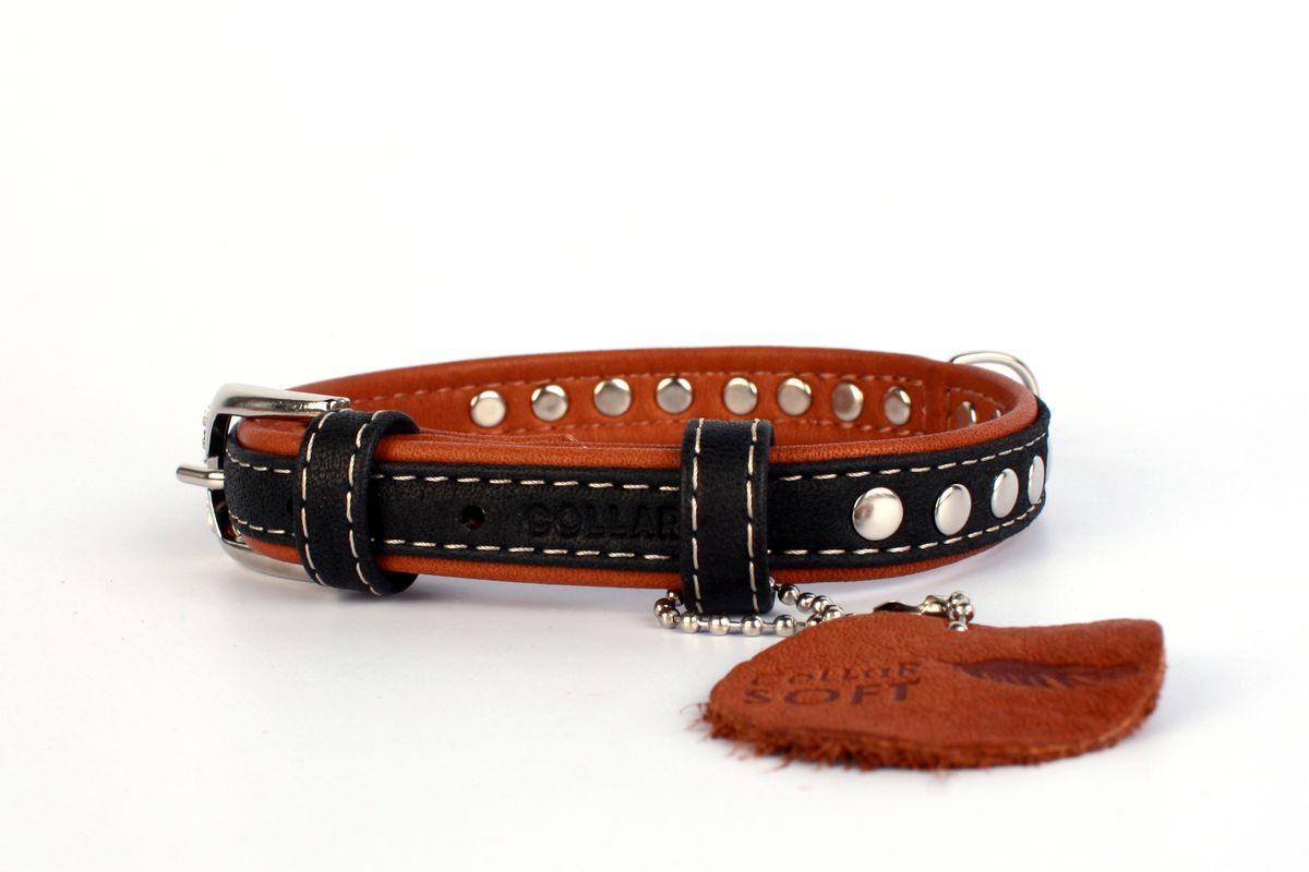 Ошейник CoLLaR SOFT, цвет верха: черный, ширина 15 мм, длина 27-36 см7194Ошейник CoLLaR SOFT с металлическими украшением чёрный верх (ширина 15мм, длина 27-36см)