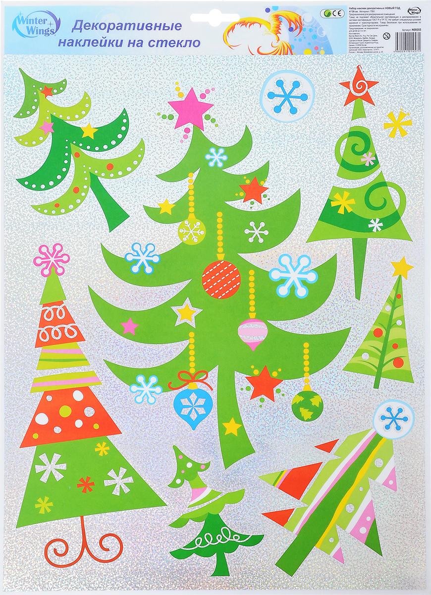 Украшение новогоднее оконное Winter Wings Новый год, 9 штN09355Новогоднее оконное украшение Winter Wings Новый год поможет украсить дом к предстоящим праздникам. Наклейки изготовлены из ПВХ и выполнены в виде елок и снежинок. С помощью этих украшений вы сможете оживить интерьер по своему вкусу, наклеить их на окно, на зеркало или на дверь. Новогодние украшения всегда несут в себе волшебство и красоту праздника. Создайте в своем доме атмосферу тепла, веселья и радости, украшая его всей семьей. Размер листа: 41 х 29 см. Размер самой большой наклейки: 17 х 27,5 см. Размер самой маленькой наклейки: 2,5 х 2,5 см.