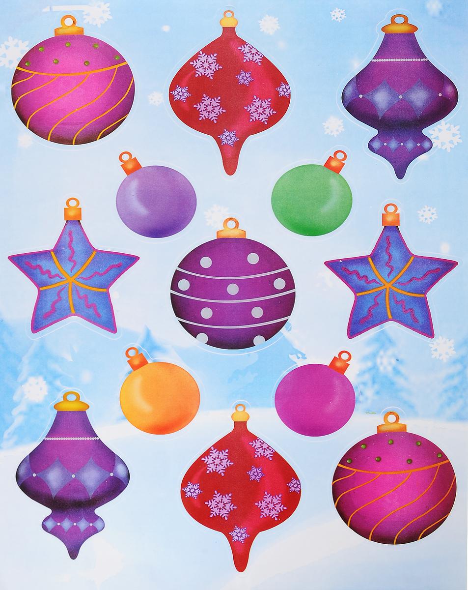 Украшение новогоднее оконное Winter Wings Елочные украшения, 13 штN09278Новогоднее оконное украшение Winter Wings Елочные украшения поможет украсить дом к предстоящим праздникам. Наклейки изготовлены из ПВХ и выполнены в виде елочных игрушек. С помощью этих украшений вы сможете оживить интерьер по своему вкусу, наклеить их на окно, на зеркало или на дверь. Новогодние украшения всегда несут в себе волшебство и красоту праздника. Создайте в своем доме атмосферу тепла, веселья и радости, украшая его всей семьей. Размер листа: 40 х 29 см. Средний размер наклейки: 8,5 х 9,5 см.