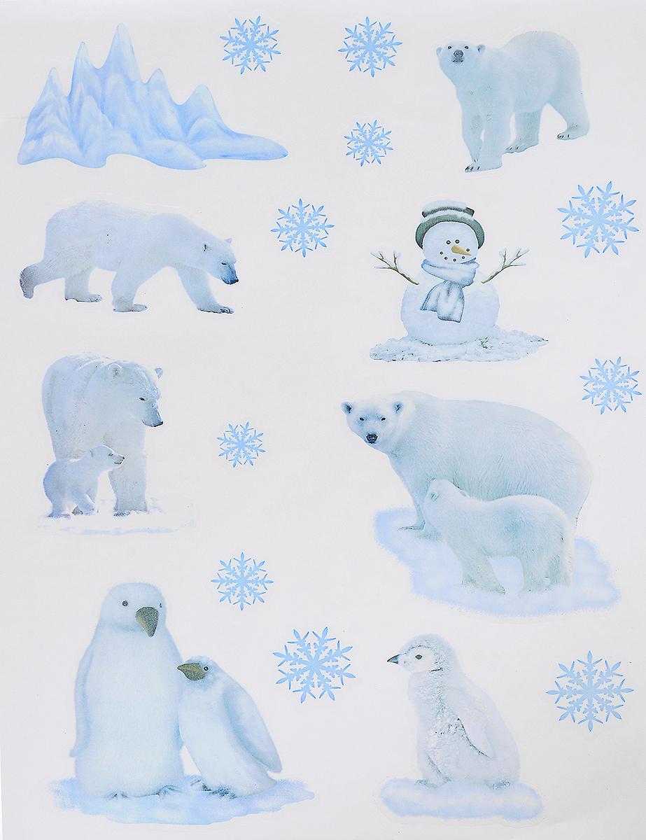 Украшение новогоднее оконное Winter Wings Северные герои, 18 штN09280Новогоднее оконное украшение Winter Wings Северные герои поможет украсить дом к предстоящим праздникам. Наклейки изготовлены из ПВХ и выполнены в виде белых медведей, пингвинов, снежинок и айсберга. С помощью этих украшений вы сможете оживить интерьер по своему вкусу, наклеить их на окно, на зеркало или на дверь. Новогодние украшения всегда несут в себе волшебство и красоту праздника. Создайте в своем доме атмосферу тепла, веселья и радости, украшая его всей семьей. Размер листа: 40 х 29 см. Размер самой большой наклейки: 11 х 13,5 см. Размер самой маленькой наклейки: 2,5 х 2,5 см.