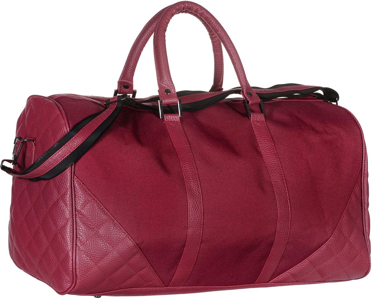 Сумка дорожная Аntan, цвет: красный. 2-2612-261Вместительная дорожная сумка Аntan выполнена из искусственной кожи и текстиля. Изделие имеет одно отделение, которое закрывается на застежку-молнию. Внутри находится прорезной карман на застежке-молнии. Сумка оснащена двумя удобными ручками. В комплект входит съемный регулируемый плечевой ремень. Основание изделия защищено от повреждений металлическими ножками.