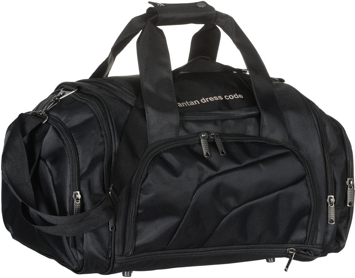 Сумка дорожная Аntan, цвет: черный. 2-1592-159Вместительная дорожная сумка Аntan выполнена из полиэстера. Изделие имеет одно отделение, которое закрывается на застежку-молнию. Снаружи, на передней стенке расположен накладной карман на застежке-молнии, внутри которого предусмотрен накладной сетчатый карман, по бокам - четыре накладных кармана на застежках-молниях, сверху - прорезной карман на застежке-молнии. Основание изделия оснащено карманом на застежке-молнии. Сумка дополнена двумя удобными ручками. В комплект входит съемный регулируемый плечевой ремень. Основание изделия защищено от повреждений пластиковыми ножками.