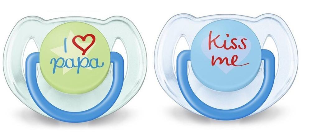 Philips Avent Пустышка силиконовая ортодонтическая Kiss Me от 6 до 18 месяцев 2 шт