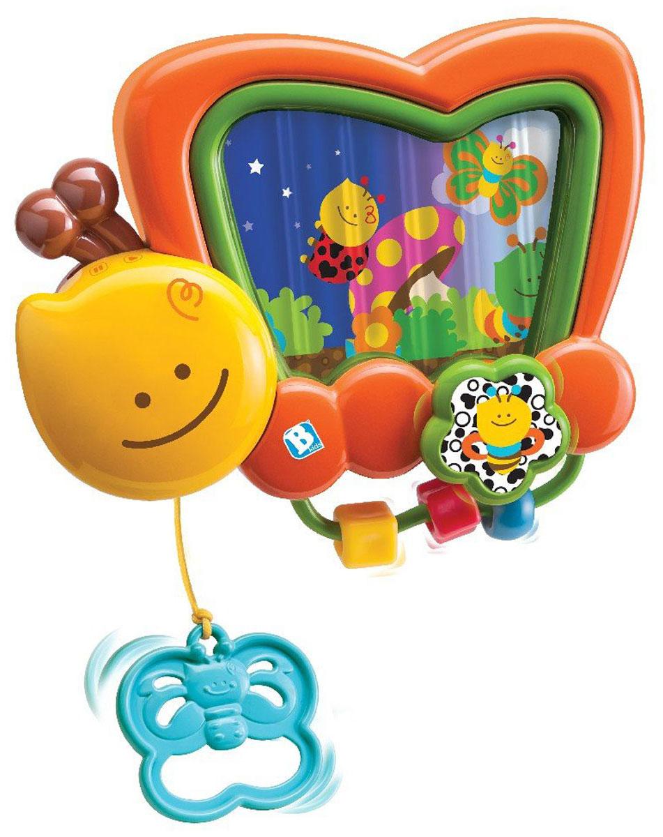 B kids Игрушка-подвеска Музыкальная шкатулка004399Игрушка-подвеска B kids Музыкальная шкатулка - это красивый помощник, который должен быть в арсенале каждой мамы. Здесь есть все необходимое, чтобы развлечь младенца. Шкатулка, выполненная в виде симпатичной бабочки, проигрывает нежные мелодии, а экран, расположенный на ее крыльях, показывает картинки. Управлять процессом можно с помощью двух переключателей: один из них находится в усиках бабочки, другой - в цветке. Шкатулка включается, если потянуть за рукоять в виде голубого мотылька: со временем малыш научится делать это сам. В нижней части игрушки расположены три разноцветные фигурки, нанизанные на пластиковую трубочку: шарик и два кубика. Игрушка-подвеска B kids Музыкальная шкатулка закрепляется на спинке кроватки. Предназначено для детей с рождения и до 5 месяцев.
