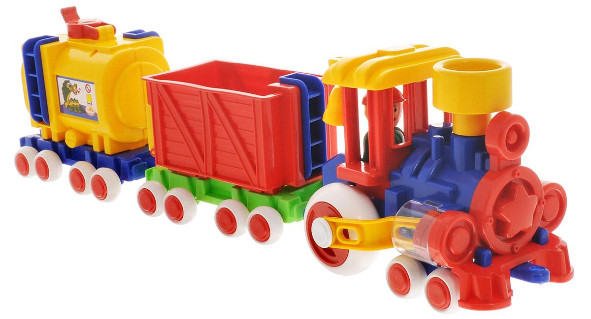 Форма Паровозик Ромашка с 2 вагонами Детский садС-119-ФПаровозик Ромашка с 2 вагонами Форма Детский сад - это яркий и абсолютно безопасный паровозик, выполненный из прочных материалов. Паровозик обязательно порадует малыша и станет замечательным подарком для юного железнодорожника. Паровоз и вагоны крепко сцеплены друг с другом, имеют широкие нескользящие колеса, благодаря которым не будут буксовать даже на гладкой поверхности. Поршни в цилиндрах паровозика двигаются. В паровоз и вагоны можно посадить маленькие фигурки. Пластмассовый паровозик может стать незаменимым другом в песочнице.