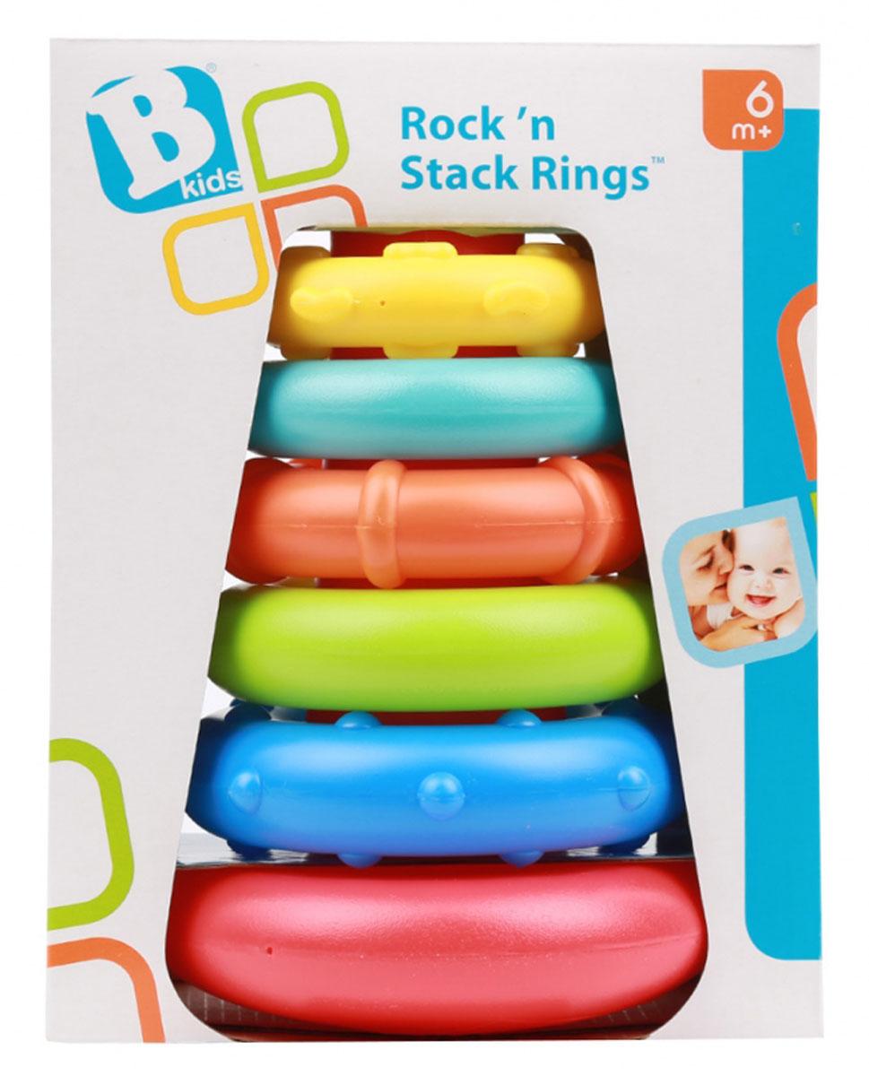 B kids Развивающая игрушка Пирамидка073612Развивающая игрушка B kids Пирамидка относится к тем игрушкам, которые должны быть у каждого малыша. Классическая, одобренная педагогами и психологами, одинаково популярная на протяжение многих поколений игрушка развивает логические навыки. B kids представляет красивый и достойный вариант традиционной пирамидки. В игрушке 5 колец и столбик на круглой подставке. Все это выполнено из качественного и безопасного пластика. Каждое кольцо имеет свой рельефный рисунок: пока малыш не научился собирать пирамидку, он может ощупывать кольца руками и развивать тактильные навыки. Для детей от 6 месяцев.