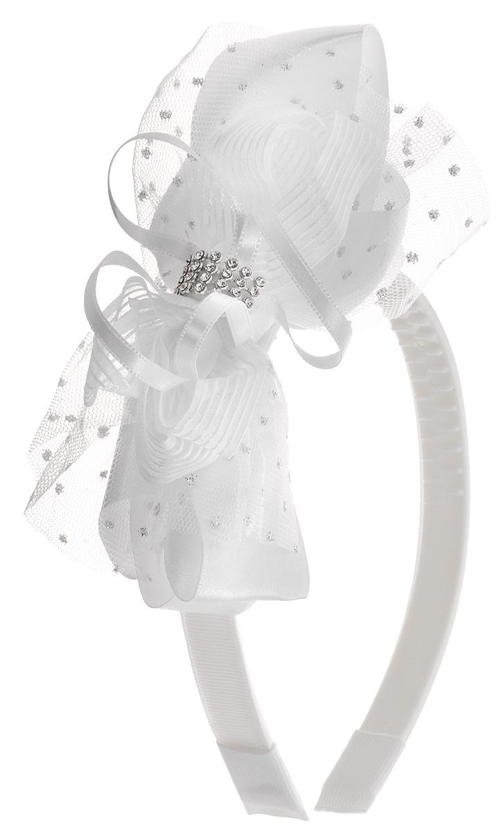 Babys Joy Ободок для волос цвет белый MNX 14MNX 14Ободок для волос Babys Joy выполнен из пластика с зубчиками. Ободок обтянут текстилем и оформлен декоративным элементом в виде текстильного бантика, украшенного стразами. Ободок позволит убрать непослушные волосы со лба, придаст образу немного романтичности и очарования.