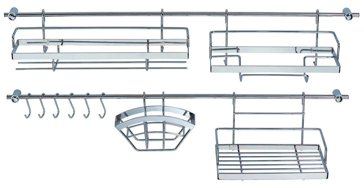 Набор рейлингов и предметов для кухни Axentia. 115919115919Набор Axentia рейлингов и предметов для кухни. В состав набора входят 16 единиц из хромированной (рейлинги) и нержавеющей стали (предметы). В составе наборе: рейлингов – 2 Х 78 см с 4 кронштейнами с дюбелями и само резами, 6 крючков, полка универсальная длинная, полка для специй и других мелких предметов, держатель для бумажных рулонных полотенец, держатель фильтров для кофе или салфеток. Все что необходимо для вашей кухни в одном наборе!