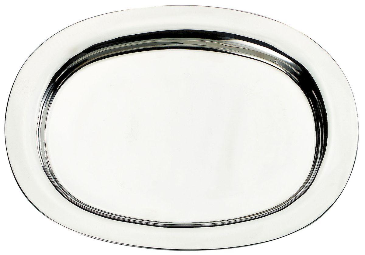 Поднос Axentia, 37 х 28 см116662Овальный поднос Axentia выполнен из высококачественной нержавеющей стали. Он отлично подойдет для красивой сервировки различных блюд, закусок и фруктов на праздничном столе. Благодаря бортикам, поднос с легкостью можно переносить с места на место. Поднос Axentia займет достойное место на вашей кухне.
