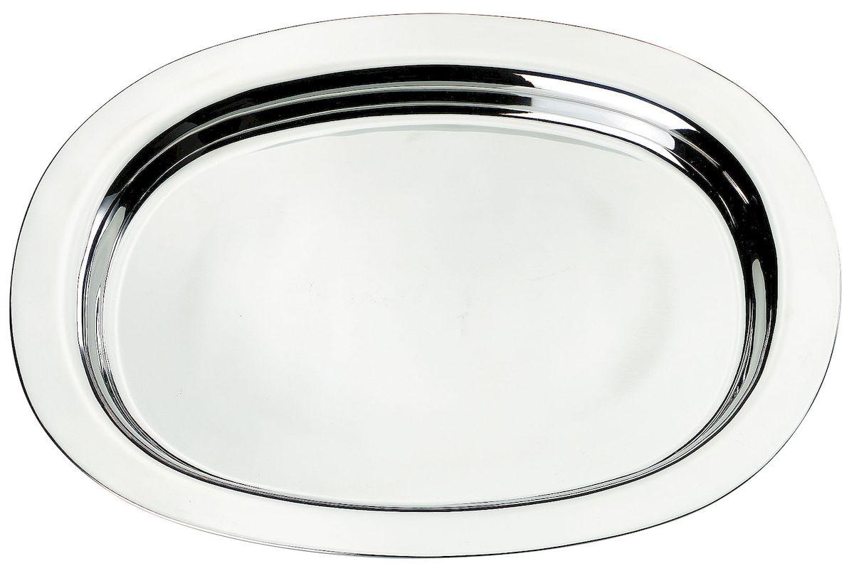 Поднос Axentia, 42 х 33 см116663Овальный поднос Axentia выполнен из высококачественной нержавеющей стали. Он отлично подойдет для красивой сервировки различных блюд, закусок и фруктов на праздничном столе. Благодаря бортикам, поднос с легкостью можно переносить с места на место. Поднос Axentia займет достойное место на вашей кухне.