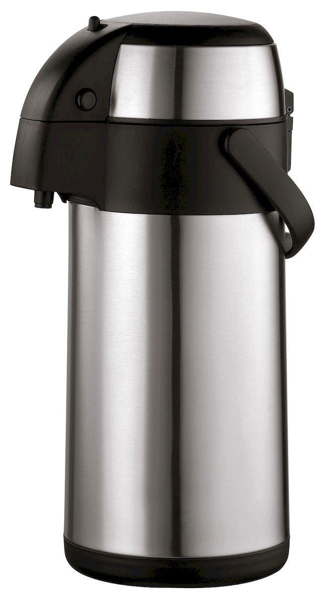 Термос Axentia, 3 л116710Термос Axentia, изготовленный из нержавеющей стали, оснащен внутренней стеклянной колбой с двойными стенками. Термос является простым в использовании, экономичным и многофункциональным. Изделие оснащено удобной ручкой и помповым насосом. Термос предназначен для хранения горячих и холодных напитков (чая, кофе) и укомплектован крышкой с кнопкой. Такая крышка удобна в использовании и позволяет, не отвинчивая ее, наливать напитки после простого нажатия. Легкий и прочный термос Axentia сохранит ваши напитки горячими или холодными надолго.