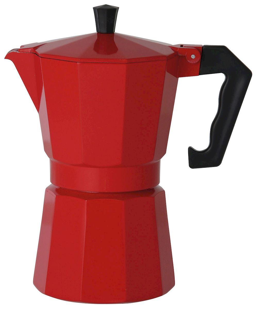 Кофеварка Axentia для Espresso, цвет: красный, на 6 чашек122247Гейзерная кофеварка Axentia позволит вам приготовить ароматный кофе Espresso на 6 персон. Корпус кофеварки изготовлен из высококачественного литого алюминия. Кофеварка состоит из двух соединенных между собой емкостей и снабжена алюминиевым фильтром-перколятором, который сохраняет аромат кофе. Данная модель предельно проста в использовании, в ней отсутствуют подвижные части и нагревательные элементы, поэтому в ней нечему ломаться. Гейзерные кофеварки являются самыми популярными в мире и позволяют приготовить ароматный кофе за считанные минуты. Основной принцип действия гейзерной кофеварки состоит в том, что напиток заваривается путем прохождения горячей воды через слой молотого кофе. В нижнюю часть гейзерной кофеварки заливается вода, в промежуточную часть засыпается молотый кофе, кофеварка ставится на огонь или электрическую плиту. Закипая, вода начинает испаряться и превращается в пар. Избыточное давление пара в нижней части кофеварки...