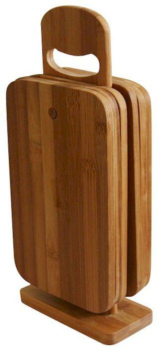 Набор разделочных досок Axentia, 22 х 14 см, 6 шт260467Набор Axentia, выполненный из 100% натурального бамбука, состоит из 6 разделочных досок на подставке. Прочные, долговечные доски не боятся воды и не впитывают запахи. Легко моются, бережно относятся к лезвию ножа. Для удобства подставка оснащена ручкой. Такие доски понравятся любой хозяйке и будут отличными помощниками на кухне. Не рекомендуется мыть в посудомоечной машине. Размер доски: 22 см х 14 см х 0,8 см.