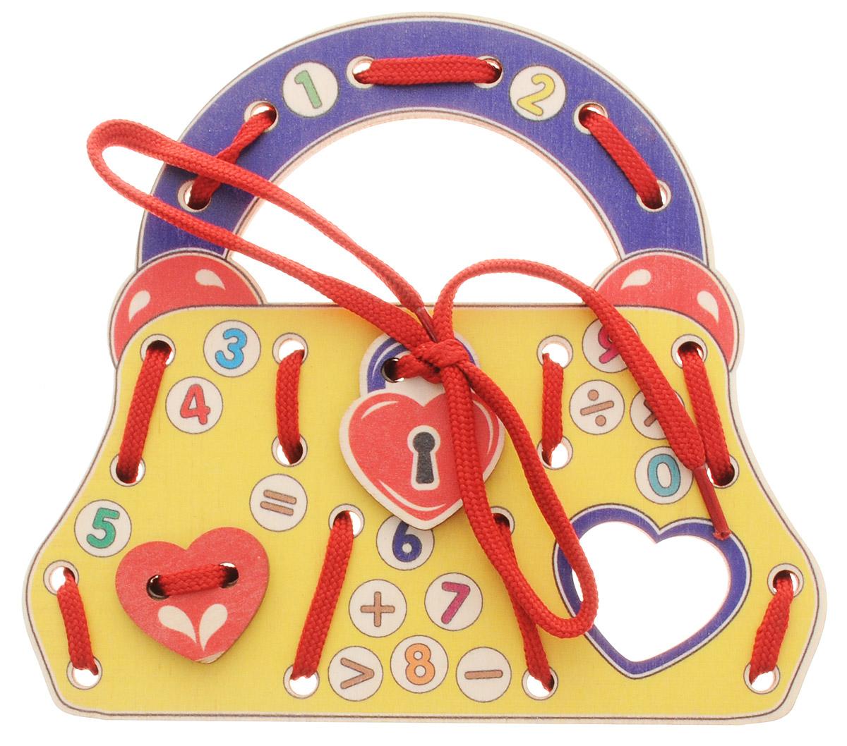 Развивающие деревянные игрушки Шнуровка Сумочка Цифры ЗнакиД495аШнуровка Развивающие деревянные игрушки выполнена в виде сумочки для маленьких модниц. Играя с этой шнуровкой, ребенок научится шнуровать и завязывать шнурочки на бантик. Игрушка поможет ребенку развить воображение, научиться компоновать и привязывать различные элементы друг к другу, создавая свой модный детский аксессуар. Игра также познакомит малыша с цифрами от 0 до 9. Шнуровка - незаменимая игрушка для развития мелкой моторики. А шнуровка в виде веселой игры станет для ребенка самым любимым развлечением.
