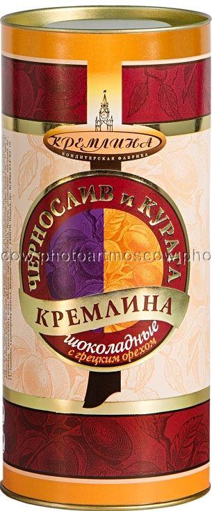 Кремлина Классика конфеты шоколадные с черносливом, курагой и грецким орехом , 250 г (туба)