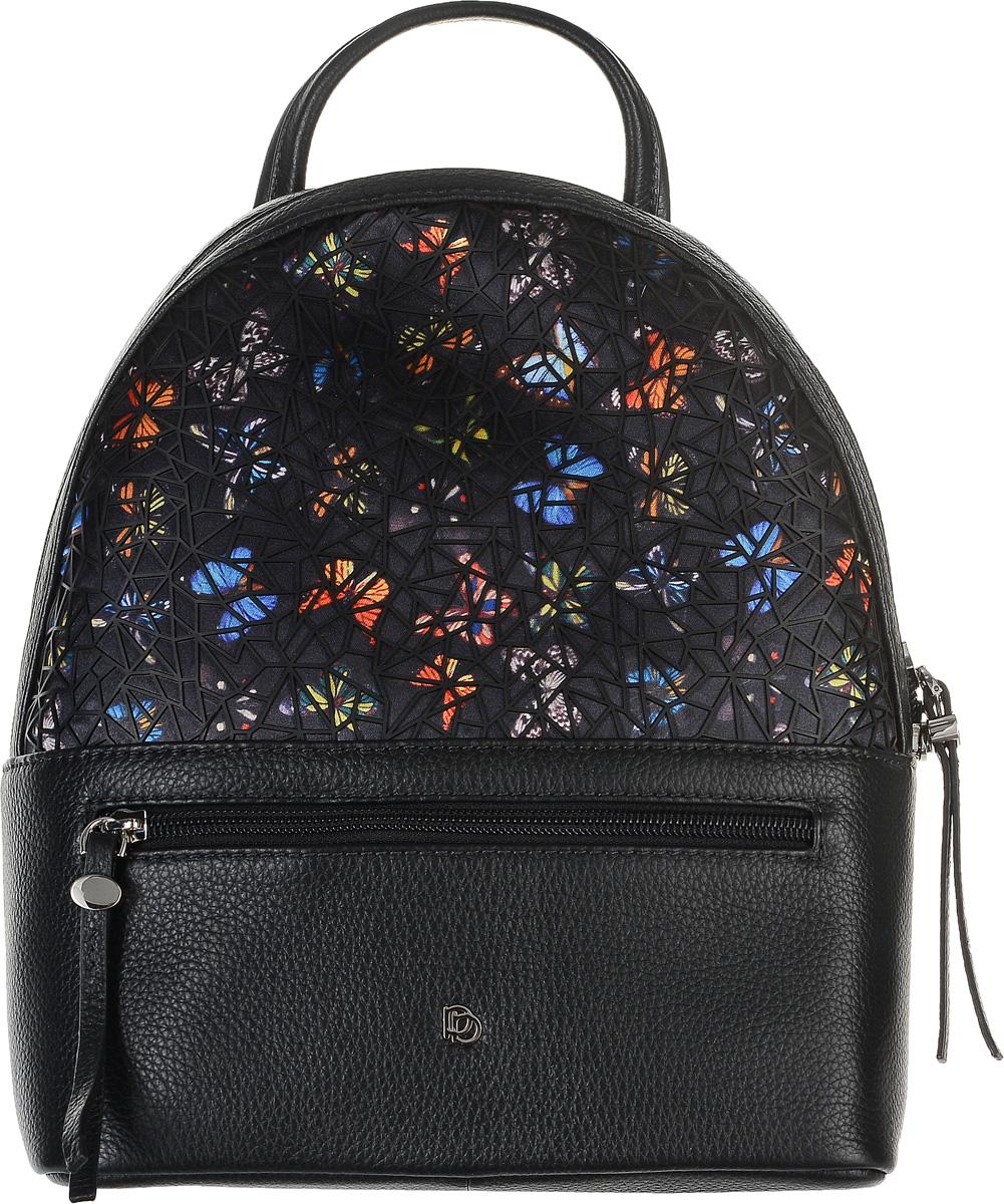Рюкзак женский Pimo Betti, цвет: черный. 15005B-W115005B-W1Модный женский рюкзак Pimo Betti, выполненный из натуральной кожи и текстиля, дополнен декоративными накладками из ПВХ. Рюкзак имеет одно основное отделение, которое закрывается на застежку-молнию. Внутри изделия расположены прорезной карман на застежке-молнии и два накладных открытых кармана. Снаружи, на передней и задней стенках находятся прорезные карманы на застежках- молниях. Рюкзак оснащен лямками регулируемой длины и ручкой для переноски в руке.