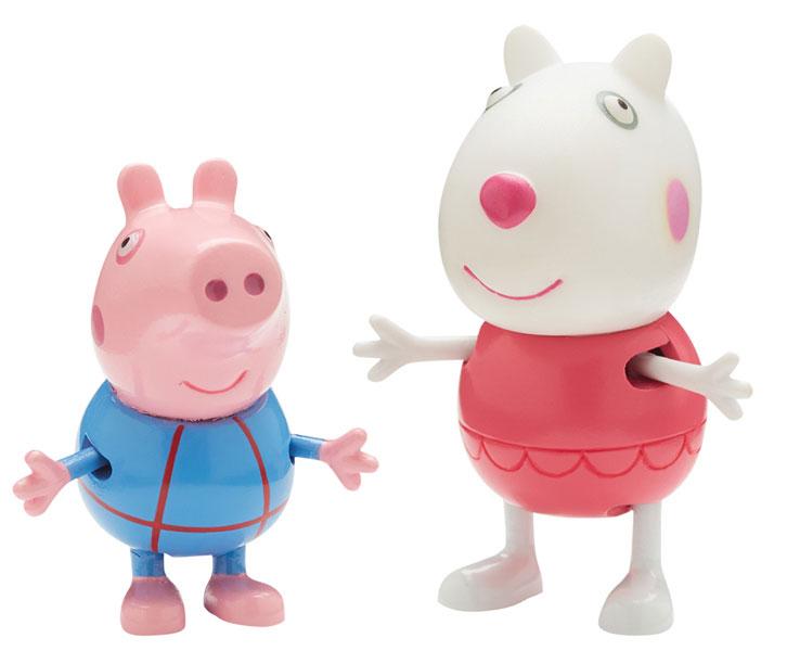 Peppa Pig Набор фигурок Сюзи и Джордж30627_Сюзи и ДжорджОживите веселые приключения Свинки Пеппы и ее друзей прямо у вас дома вместе с забавными фигурками из набора Сюзи и Джордж! В комплекте 2 фигурки с двигающимися ручками и ножками, которые могут сидеть и стоять.