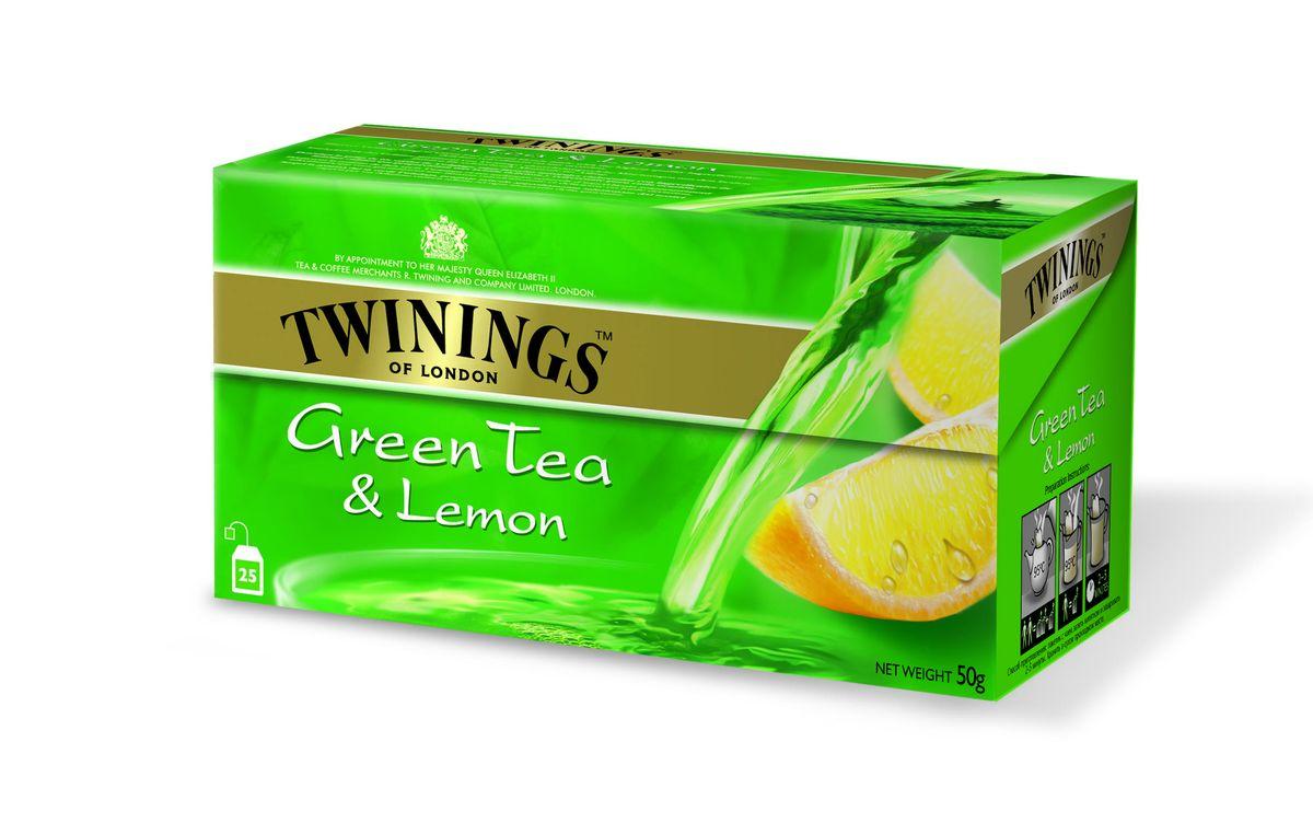 Twinings чай зеленый с лимоном в пакетиках, 25 шт01854