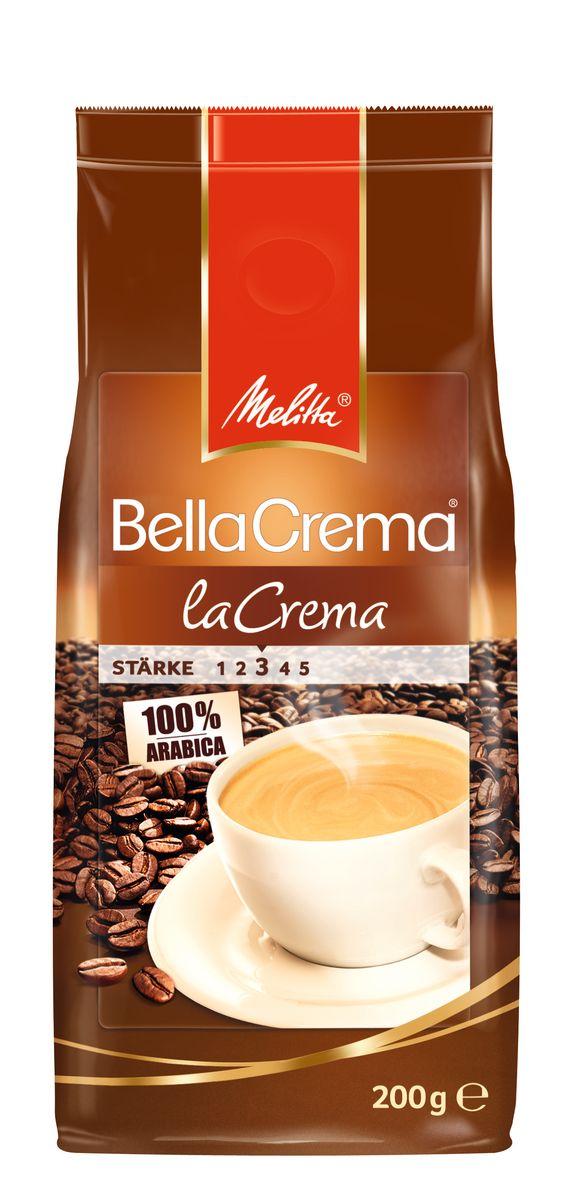 Melitta BellaCrema LaCrema кофе в зернах, 200 г00800100% Арабика - Мягкий, ароматный кофе Кремовый вкус и легкая пенка Идеально сочетается с десертами Мягкая упаковка с клапаном Предназначен для приготовления кофе в кофеварках и кофемашинах Можно молоть вручную и варить в турке