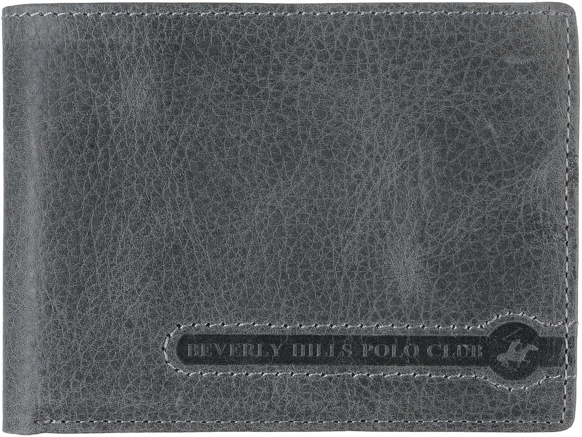 Портмоне мужское Beverly Hills Polo Club, цвет: серый. 391391_antrУльтратонкое портмоне Beverly Hills Polo Club выполнено из натуральной фактурной кожи. Внутри портмоне располагается отделение для купюр, четыре кармана для кредиток и визиток, два отделения для Sim-карт, одно отделение для SD-карт, отделение для монет на клапане с кнопкой. Также внутри отделения для купюр есть четыре кармана для визиток и кредиток и кармашек для чеков. Портмоне для мужчины - неотъемлемая часть имиджа! Порадуйте мужчину таким ярким, стильным и практичным подарком! Поставляется портмоне в фирменной картонной коробке.