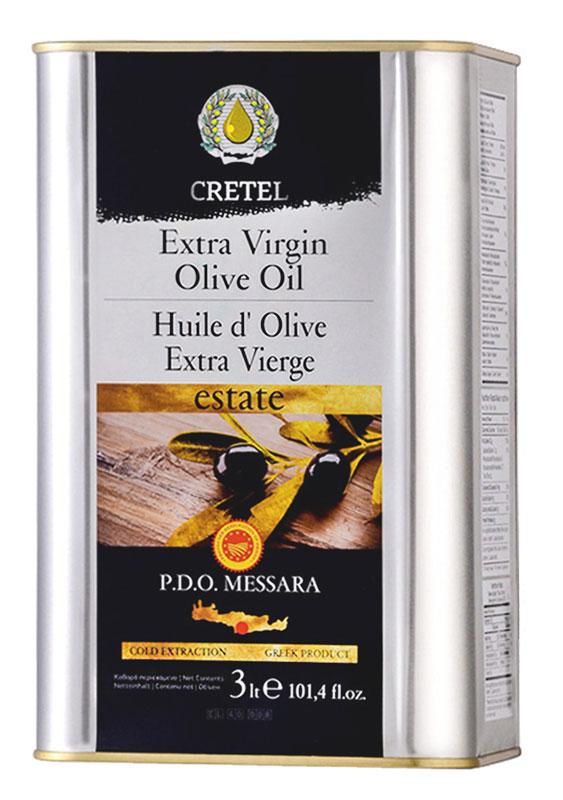 Cretel Extra Virgin масло оливковое P.D.O. Messara, 3 л16011Estate P.D.O. Messara (Protected designation of origin) — это уникальный объект авторского права, который закрепляет за производителем права гарантированный регион производства, несет на упаковке информацию о конкретном районе производства, в нашем случае, в районе Мессара, на о. Крит, Греция. Оливки были выращены, собраны и отжаты в масло полностью в определенном географическом регионе. Весь процесс изготовления этого масла, как говорилось выше, производится на месте сбора сырья. Маркировка дает гарантию потребителю, что масло не является ни в коем случае смесью масел. Один из главных показателей качества оливкового масла – кислотность, в оливковом масле «CRETEL» Extra Virgin она не превышает 0,6%.