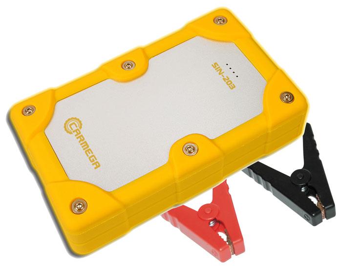 Carmega SIN-203 пускозарядное устройствоCARMEGA SIN203Компактное мощное пускозарядное устройство Carmega SIN-203 способно обеспечить запуск малолитражных автомобилей с бензиновыми двигателями и мототехники с напряжением бортовой сети 12 В. Устройство готово к использованию сразу после покупки. Светодиодный индикатор на лицевой панели CARMEGA SIN-203 позволяет отслеживать уровень заряда устройства. Встроенный двухцветный индикатор силовых клемм позволяет отследить работу устройства, продиагностировать АКБ автомобиля и предотвратить неправильное подключение. Встроенная подсветка силовых клемм упрощает подключение в темное время суток. Carmega SIN-203 отличается компактными размерами и оригинальным внешним видом. Прорезиненный корпус с металлической вставкой обеспечивает надёжную защиту от брызг и устойчивость к механическим воздействиям. Модель комплектуется кабелем USB/micro USB для подключения портативных устройств с напряжением питания 5 В и током потребления до 2,1 А. ...