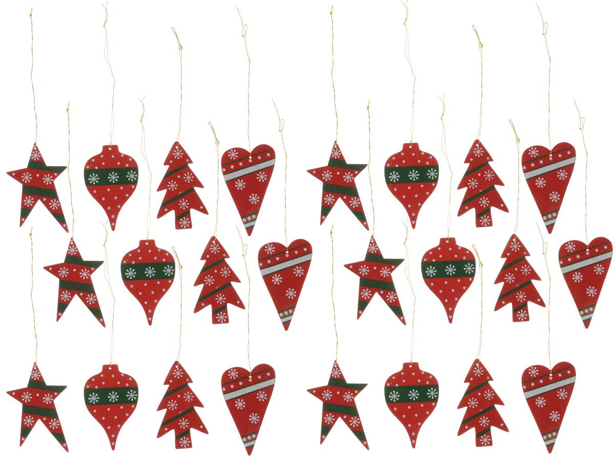 Набор елочных украшений Winter Wings Новый год, 24 штN181340Набор Winter Wings Новый год отлично подойдет для декора праздничной ели. В наборе 24 новогодние елочные игрушки, выполненные из дерева в форме шаров, ели, звезды, сердца с различным дизайном. Игрушки оснащены петельками для подвешивания. Елочная игрушка - символ Нового года. Она несет в себе волшебство и красоту праздника. Создайте в своем доме атмосферу веселья и радости, украшая новогоднюю елку нарядными игрушками, которые будут из года в год накапливать теплоту воспоминаний. Размер звезды: 6,5 х 4 см. Размер ели: 6 х 3,5 см. Размер сердца: 6 х 3,5 см. Размер шара: 6 х 3,5 см.