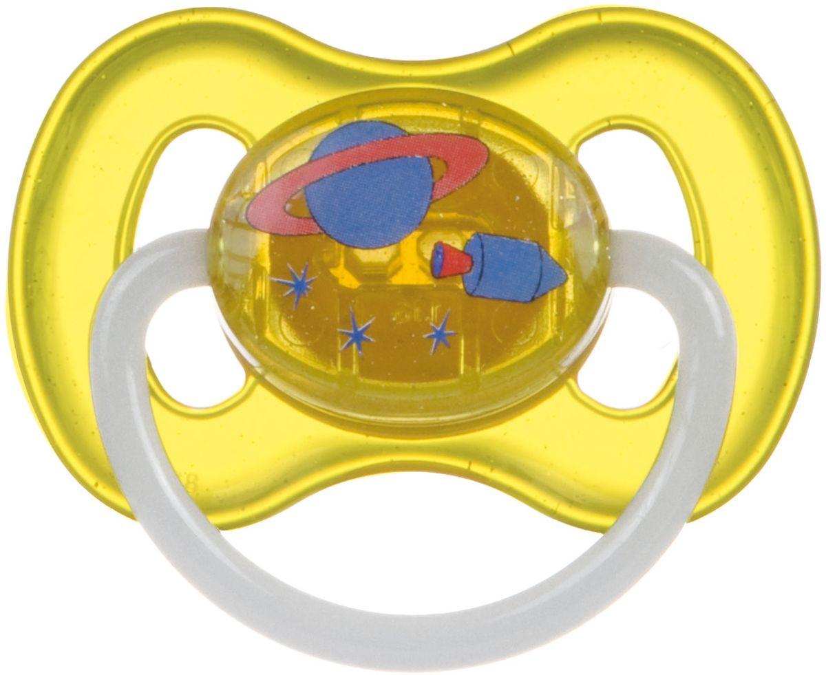 Canpol Babies Пустышка латексная от 6 до 18 месяцев Space цвет желтый