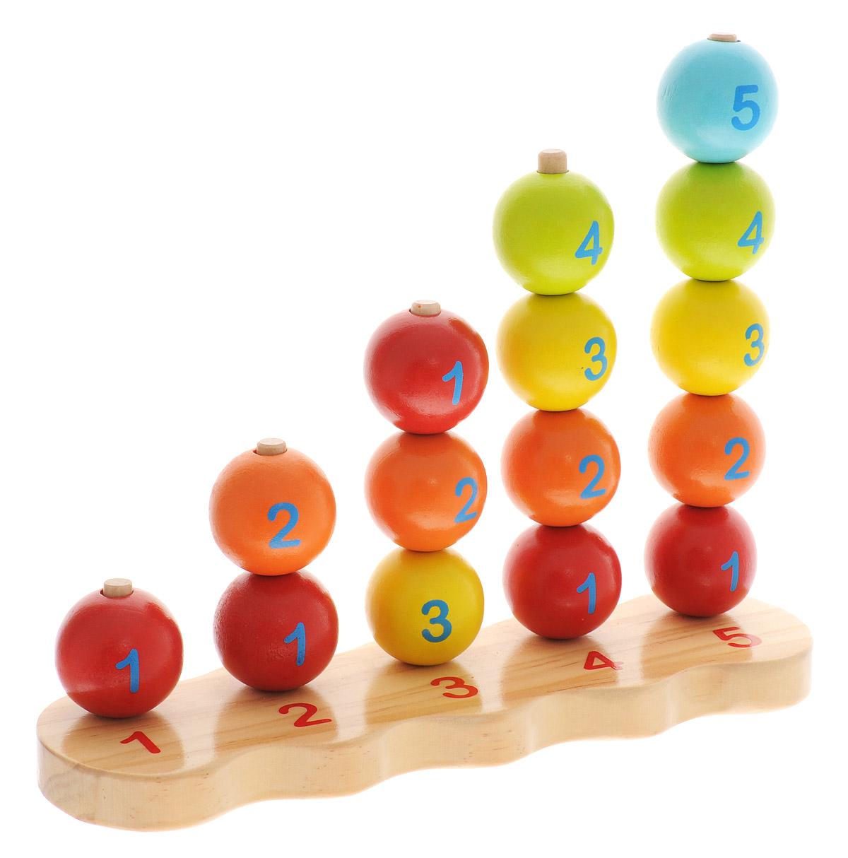 Мир деревянных игрушек Пирамидки-счет ШарыД079Пирамидки-счет Шары непременно понравятся малышу и позволят ему в игровой форме освоить счет. Пирамидка представляет собой деревянную основу с пятью столбиками, на которые надеваются шарики одного цвета. В набор входят 15 деревянных шаров красного, синего, зеленого и желтого цветов. Удобная форма элементов пирамидки позволит малышу с легкостью держать их и играть с ними, развивая логику, цветовое восприятие, координацию движений и мелкую моторику рук.
