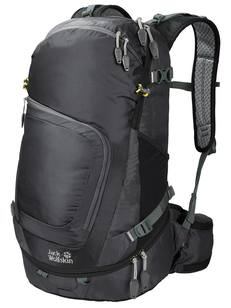 Рюкзак городской Jack Wolfskin Crosser 26 Pack, цвет: черный, 26 л2004951-6000Универсальный рюкзак для туризма и офиса с донным отделением, отделением для планшетного компьютера и ноутбука. Универсальность для ежедневных приключений на природе: рюкзаки нашей новой серии CROSSER (КРОССЕР) сочетают практичные детали туристических и офисных рюкзаков и определенно подходят для обеих сфер применения. CROSSER (КРОССЕР) многофункциональны: даже в походе ваш планшетный компьютер и все детали оснащения всегда будут под рукой. К деталям отделки относятся и отдельные крепления для трекинговых палок, светодиодного фонарика, а также отражатели и чехол от дождя. Также в рюкзаке можно безопасно переносить ноутбук, бутылку для воды или планшетный компьютер. Упаковывать рюкзак легко благодаря устойчивому дну. CROSSER 26 — средняя модель серии и единственная модель с донным отделением. Через него вы можете достать даже те вещи, которые упакованы на самом дне в основном отделении. В переднем кармане есть ORGANIZER (ОРГАНАЙЗЕР), легко доступный в путешествии.