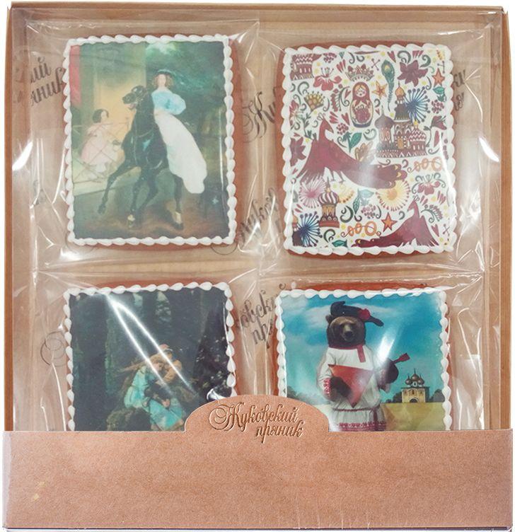 Жуковский пряник Подарочный набор Картины русских художников-3, 4 шт00-00001449Медово-имбирные пряники с росписью из айсинга, фотопечатью на сахарной бумаге. Прекрасно подойдут к любому событию
