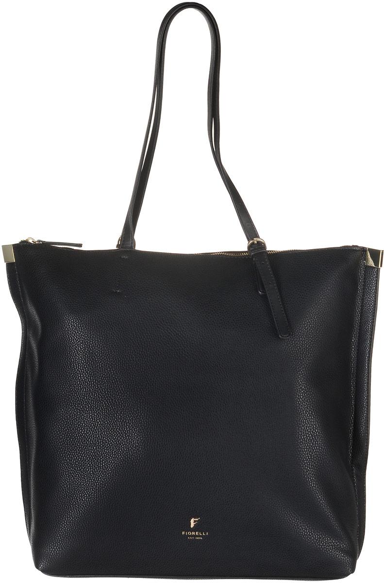 Сумка женская Fiorelli, цвет: черный. 8521 FH8521 FH BlackСтильная сумка Fiorelli выполнена из высококачественной искусственной кожи. Изделие оформлено фирменной надписью и металлической пластинкой с логотипом бренда. На тыльной стороне расположен вшитый карман на молнии. Сумка оснащена удобными ручками, длина которых регулируется с помощью пряжки. Изделие закрывается на застежку-молнию. Внутри расположено главное вместительно отделение, которое содержит два открытых накладных кармана для телефона и мелочей и один вшитый карман на молнии.