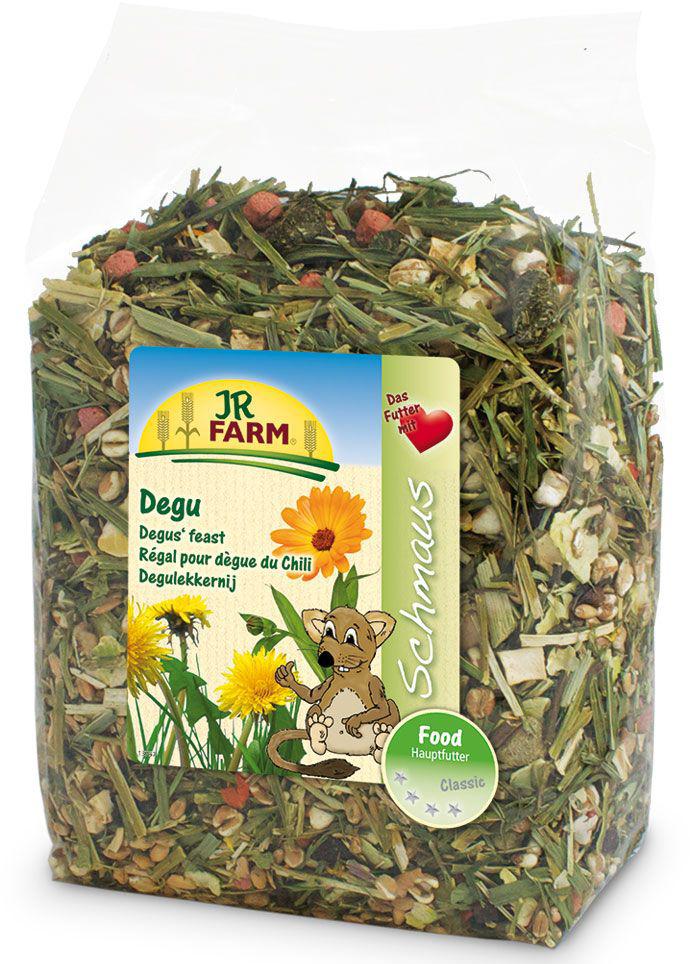 Корм для дегу JR Farm Classic, 800 г37512/ 13672Корм JR Farm Classic - полностью натуральный полноценный корм для всех видов дегу. Высокое содержание клетчатки и низкое содержание зерна обеспечивают здоровое пищеварение и способствуют снижению вероятности набора лишнего веса дегу. Полностью, как естественный корм из природы, смесь не содержит фрукты или ингредиенты с высоким содержанием сахаров, что снижает риск развития диабета. Большое количество овощей, витаминов и минералов для здорового образа жизни и для отличной физической формы. Рекомендации по кормлению: наполняйте кормушку, когда она уже пуста. Пожалуйста, обеспечивайте животное таким количеством корма, которое он съедает в течение 24 часов. Состав: пшеница, хлопья гороха, экстрактированная кукуруза, пшеничные хлопья, люцерна, хлопья бобов, семена трав, воздушная пшеница, пастернак, тимофеевка луговая, петрушка, ежа сборная, мята, морковь, свекла, зелень кукурузы, подорожник, красный клевер, мятлик луговой, овсяница луговая,...