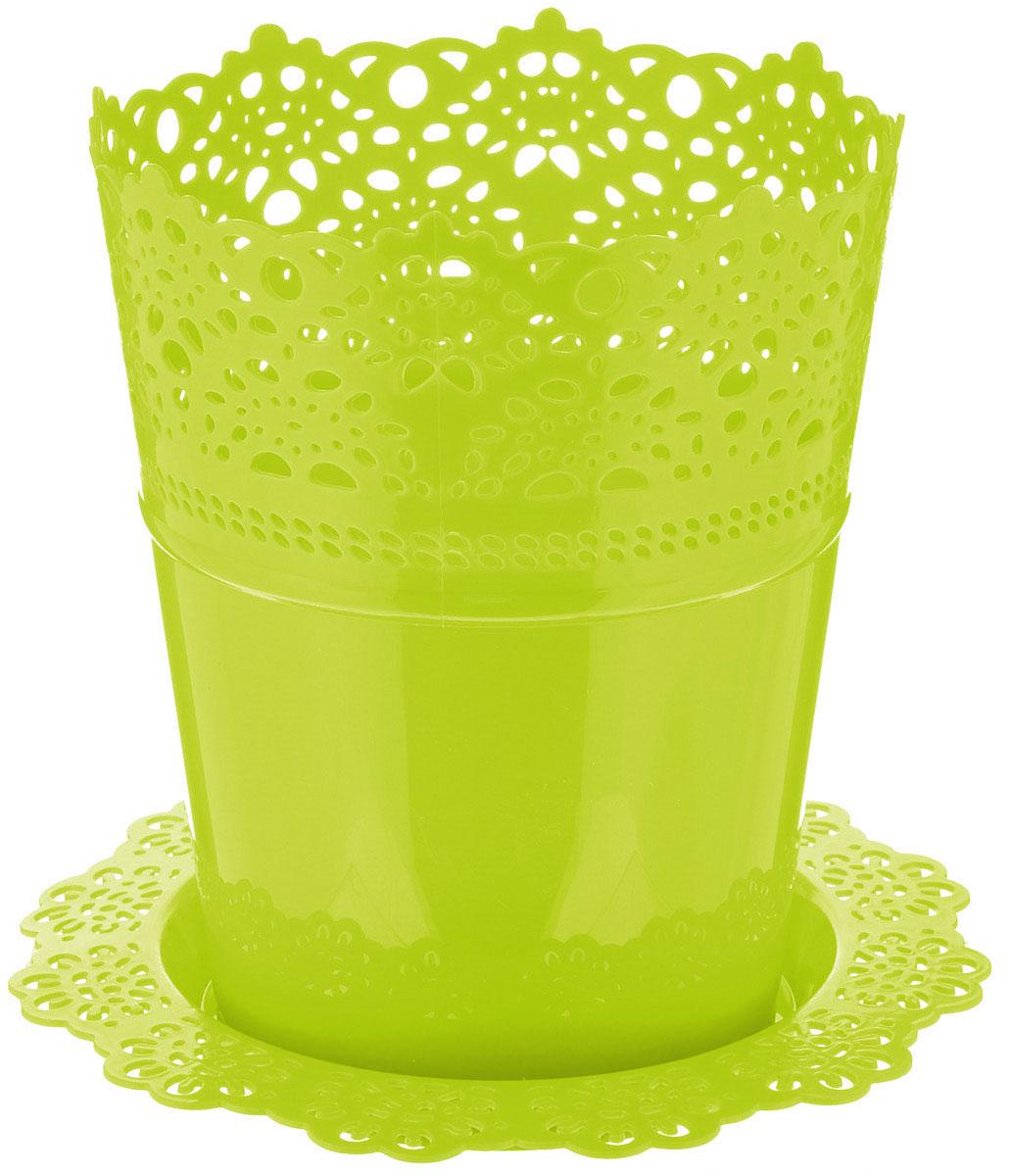 Кашпо Idea Ажур, с подставкой, цвет: салатовый, диаметр 15 смМ 3092Кашпо Idea Ажур изготовлено из полипропилена (пластика). Специальная подставка предназначена для стока воды. Верх изделия и подставка оформлены перфорацией, напоминающей кружево. Изделие прекрасно подходит для выращивания растений и цветов в домашних условиях. Диаметр подставки: 19 см.